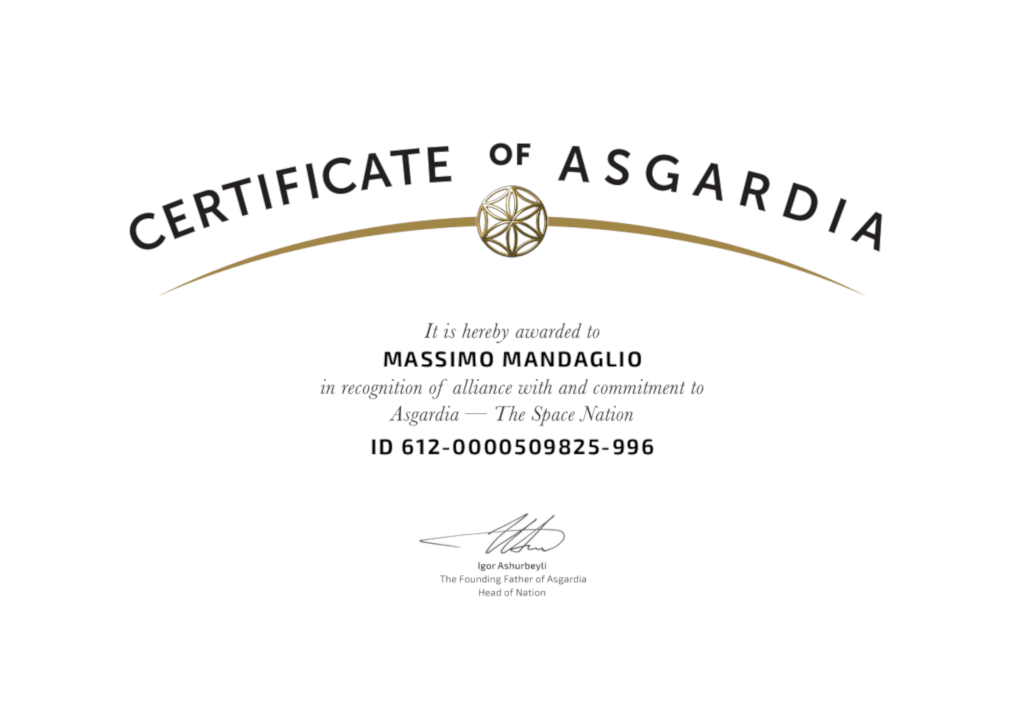 Certificate of Asgardia