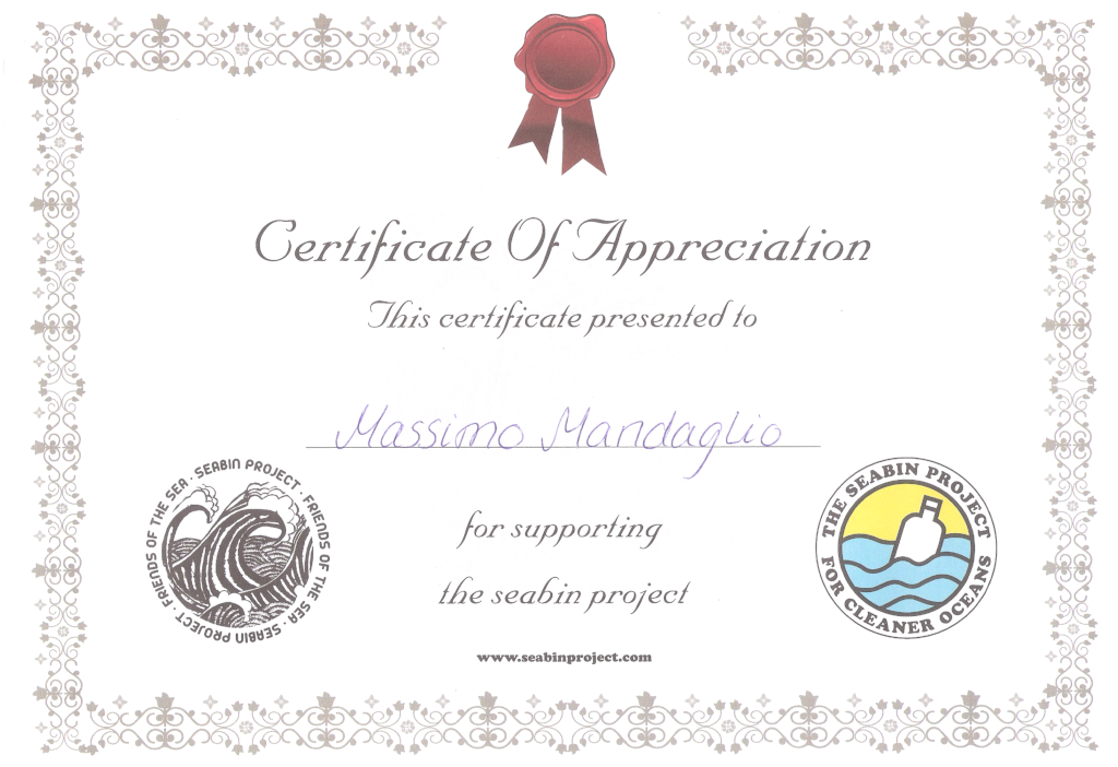 Seabin project - Certificate of appreciation
